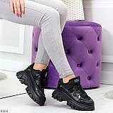 Модные миксовые черные женские кроссовки сникерсы на шнуровке, фото 6