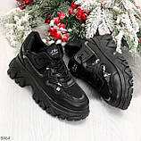 Модные миксовые черные женские кроссовки сникерсы на шнуровке, фото 7