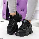 Модные миксовые черные женские кроссовки сникерсы на шнуровке, фото 9