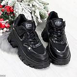 Модные миксовые черные женские кроссовки сникерсы на шнуровке, фото 10