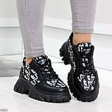 Эффектные миксовые черные женские кроссовки сникерсы на шнуровке, фото 3