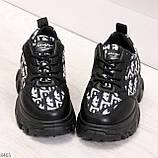Эффектные миксовые черные женские кроссовки сникерсы на шнуровке, фото 4