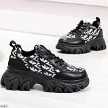 Эффектные миксовые черные женские кроссовки сникерсы на шнуровке, фото 5