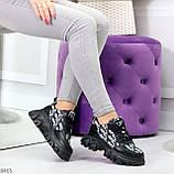 Эффектные миксовые черные женские кроссовки сникерсы на шнуровке, фото 6