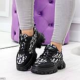 Эффектные миксовые черные женские кроссовки сникерсы на шнуровке, фото 7