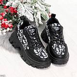 Эффектные миксовые черные женские кроссовки сникерсы на шнуровке, фото 8