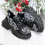Эффектные миксовые черные женские кроссовки сникерсы на шнуровке, фото 9