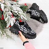 Эффектные миксовые черные женские кроссовки сникерсы на шнуровке, фото 10