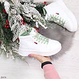 Стильные высокие белые женские кроссовки кеды криперы на мятной шнуровке, фото 10