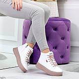 Стильные высокие белые женские кроссовки кеды криперы на розовой шнуровке, фото 3