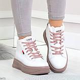 Стильные высокие белые женские кроссовки кеды криперы на розовой шнуровке, фото 5