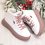 Стильные высокие белые женские кроссовки кеды криперы на розовой шнуровке, фото 7