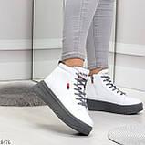 Стильные высокие белые женские кроссовки кеды криперы на серой шнуровке, фото 2