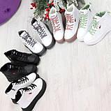Стильные высокие белые женские кроссовки кеды криперы на серой шнуровке, фото 3