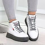 Стильные высокие белые женские кроссовки кеды криперы на серой шнуровке, фото 4