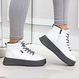 Стильные высокие белые женские кроссовки кеды криперы на серой шнуровке, фото 5
