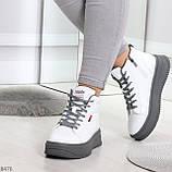 Стильные высокие белые женские кроссовки кеды криперы на серой шнуровке, фото 6