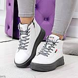 Стильные высокие белые женские кроссовки кеды криперы на серой шнуровке, фото 7