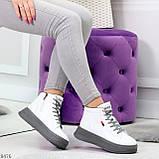 Стильные высокие белые женские кроссовки кеды криперы на серой шнуровке, фото 8