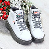 Стильные высокие белые женские кроссовки кеды криперы на серой шнуровке, фото 9