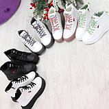 Стильные высокие черные - белые женские кроссовки кеды криперы на шнуровке, фото 3