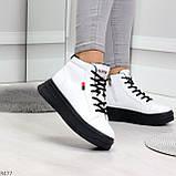 Стильные высокие черные - белые женские кроссовки кеды криперы на шнуровке, фото 4