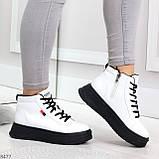 Стильные высокие черные - белые женские кроссовки кеды криперы на шнуровке, фото 6