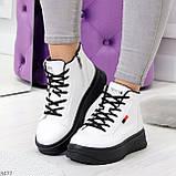 Стильные высокие черные - белые женские кроссовки кеды криперы на шнуровке, фото 7