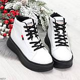 Стильные высокие черные - белые женские кроссовки кеды криперы на шнуровке, фото 8