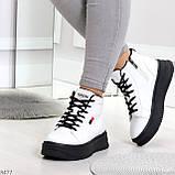 Стильные высокие черные - белые женские кроссовки кеды криперы на шнуровке, фото 9