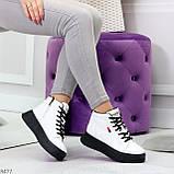 Стильные высокие черные - белые женские кроссовки кеды криперы на шнуровке, фото 10