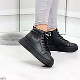 Стильные высокие черные женские кроссовки кеды криперы на шнуровке, фото 2