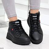 Стильные высокие черные женские кроссовки кеды криперы на шнуровке, фото 3