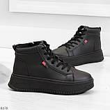 Стильные высокие черные женские кроссовки кеды криперы на шнуровке, фото 4