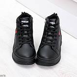 Стильные высокие черные женские кроссовки кеды криперы на шнуровке, фото 5