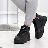 Стильные высокие черные женские кроссовки кеды криперы на шнуровке, фото 6