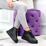 Стильные высокие черные женские кроссовки кеды криперы на шнуровке, фото 7
