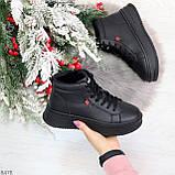 Стильные высокие черные женские кроссовки кеды криперы на шнуровке, фото 9