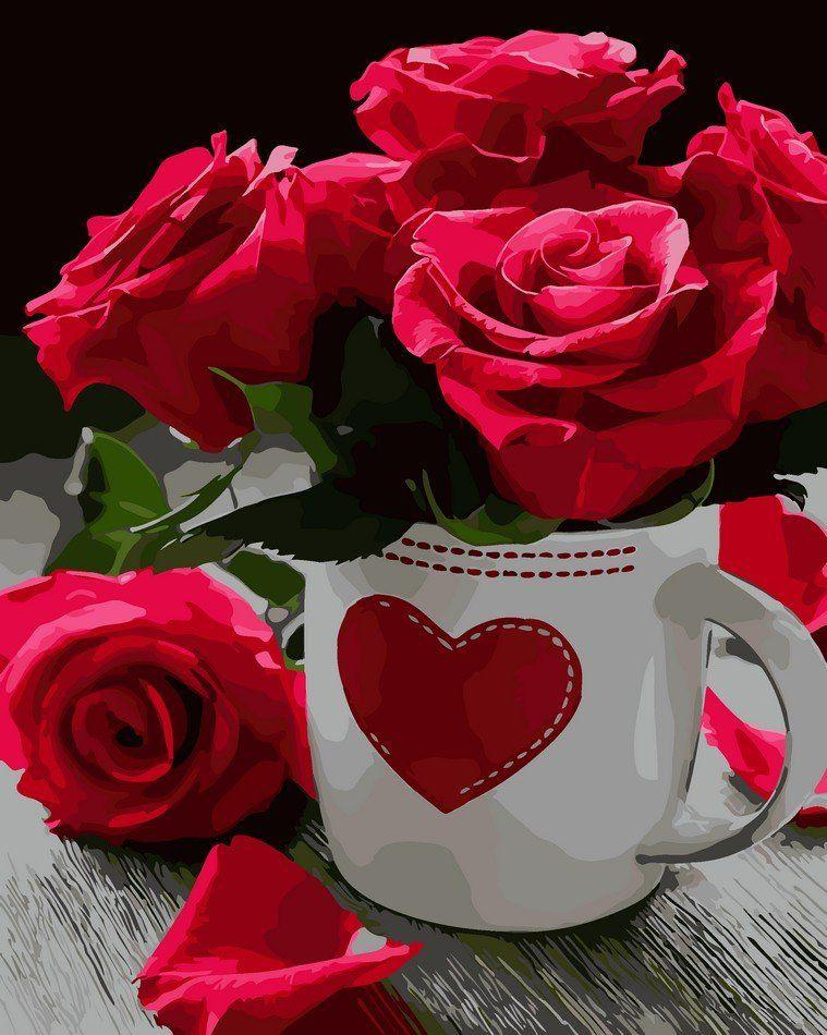 AS0020 Раскраска по номерам Розовое сердце, В картонной коробке