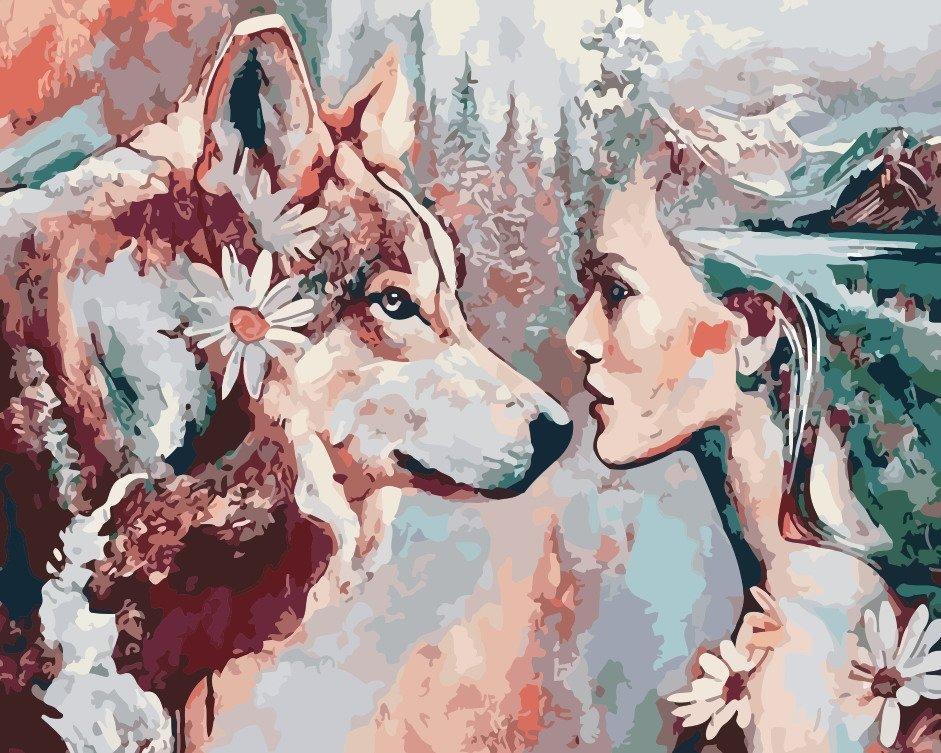 AS0189 Раскраска по номерам Душа волчицы, В картонной коробке