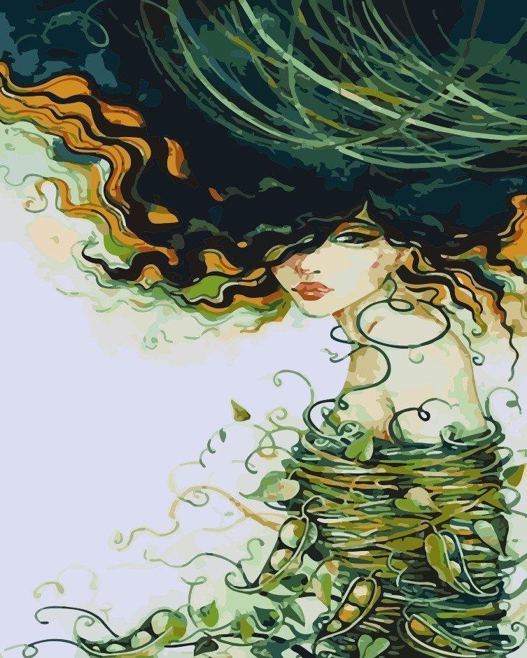 AS0194 Раскраска по номерам Девушка-лето, В картонной коробке