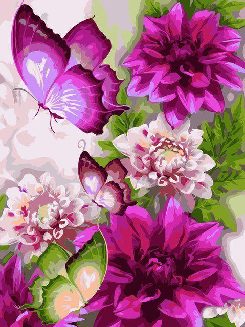 AS0216 Раскраска по номерам Цветы и бабочки, Без коробки