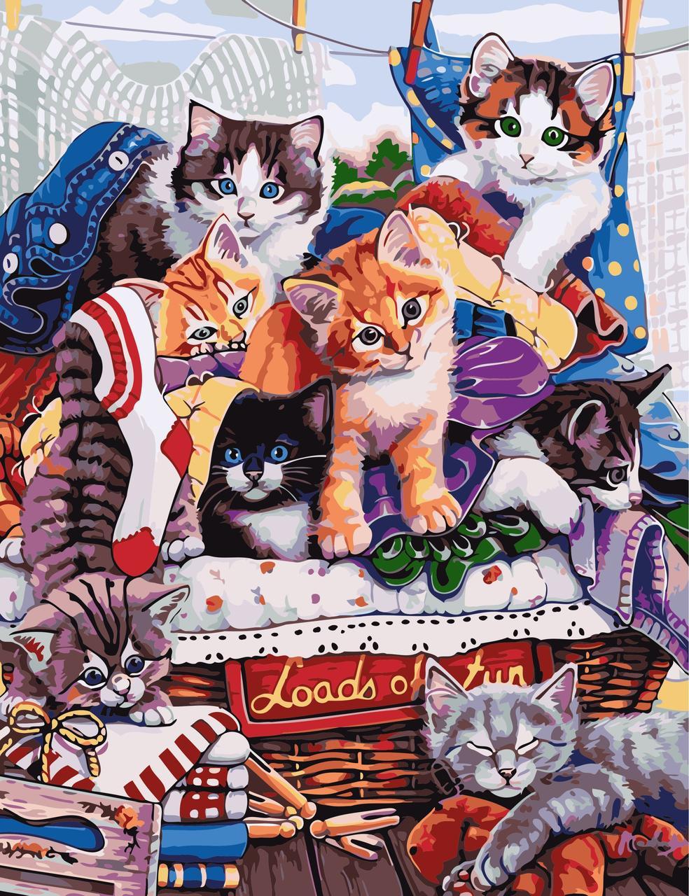 AS0614 Картина-набор по номерам Котята, В картонной коробке
