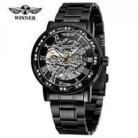 Годинники наручні чоловічі жіночі скелетоны механічні Winner 8012 Diamonds Automatic Black-Silver 1099-0030