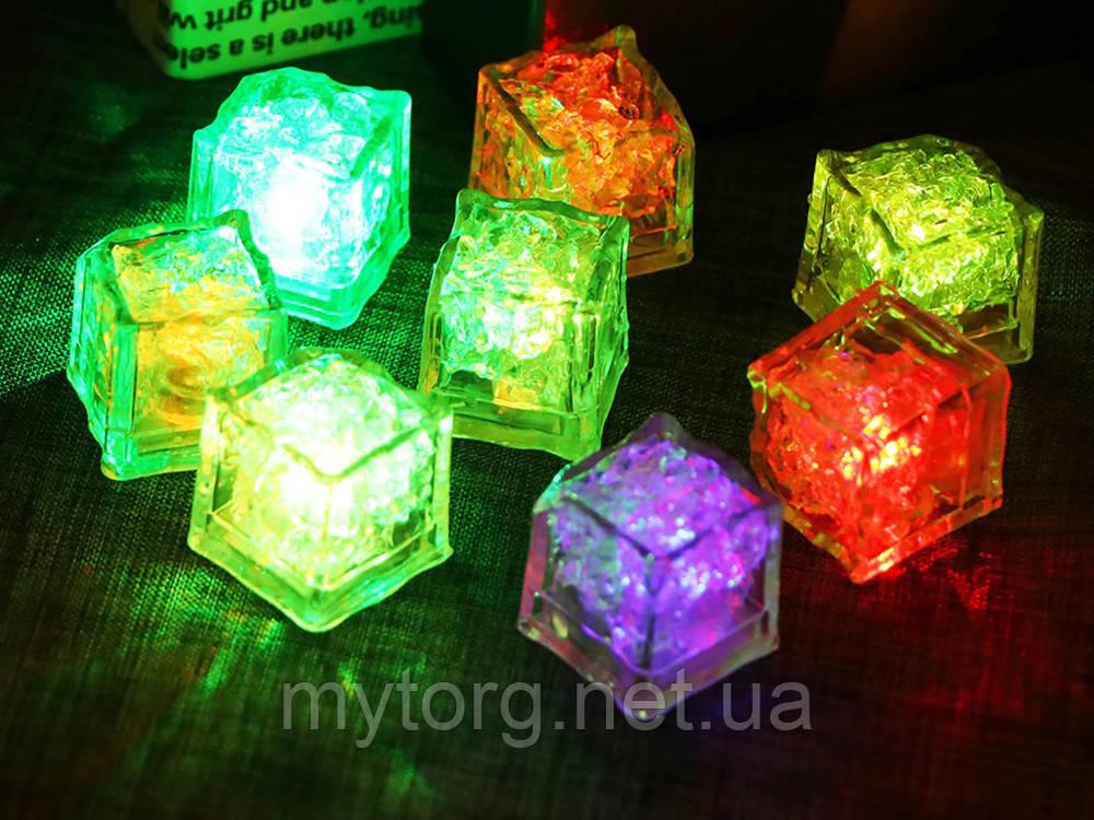 Светящиеся кубики в стакан Кубики льда светодиодные 12 шт