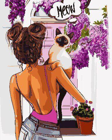 AS0754 Набор для рисования по номерам Девушка и кот, В картонной коробке