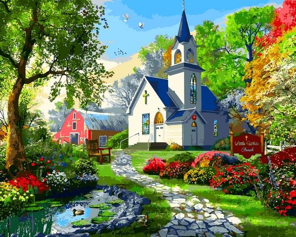 VP1287 Картина-раскраска по номерам Маленькая Белая Церков. Доминик Дэвисон