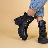 Ботинки женские кожаные черные зимние на шнурках и с замком, фото 2