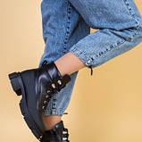 Ботинки женские кожаные черные зимние на шнурках и с замком, фото 3
