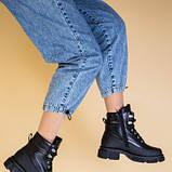Ботинки женские кожаные черные зимние на шнурках и с замком, фото 5